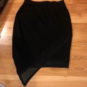 Tight Black Skirt with One Longer Mesh Side